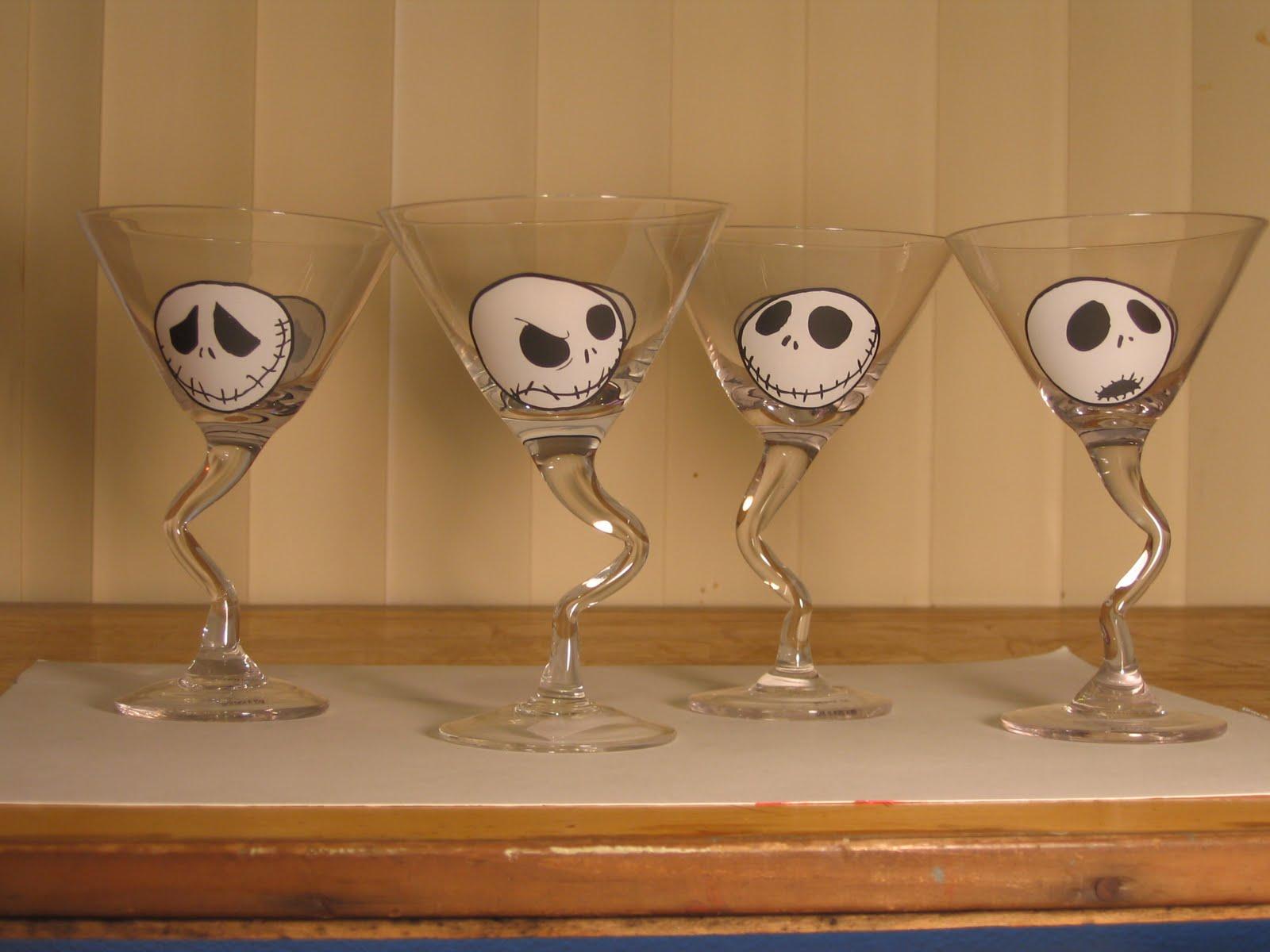 Jack Skellington Martini Glasses - The Pumpkin King Collection