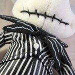 Closeup of Mickey Mouse as Jack Skellington Plush Doll Body