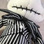 Closeup of Mickey Mouse as Jack Skellington Plush Doll Body